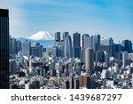 mountain fuji with tokyo... | Shutterstock . vector #1439687297