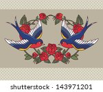 old school frame with roses and ... | Shutterstock .eps vector #143971201