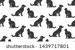 Stock vector pet shop vector seamless pattern with flat icons of dog and cat sitting opposite each other black 1439717801