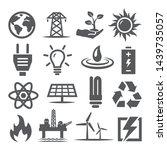 energy icons set on white... | Shutterstock .eps vector #1439735057