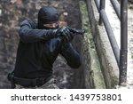 masked criminal  a fugitive ... | Shutterstock . vector #1439753801