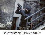 masked criminal  a fugitive ... | Shutterstock . vector #1439753807