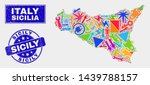 mosaic tools sicilia map and... | Shutterstock .eps vector #1439788157
