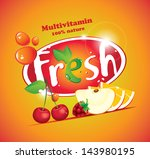 banner with fruits and berries... | Shutterstock .eps vector #143980195