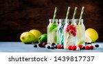 summer drinks set. berry  fruit ... | Shutterstock . vector #1439817737