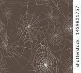 white cartoon halloween cobweb... | Shutterstock .eps vector #1439821757