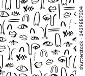 one line drawing abstract faces ... | Shutterstock .eps vector #1439887304