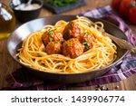 spaghetti and meatballs ... | Shutterstock . vector #1439906774