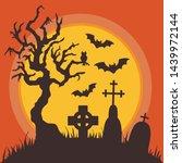 halloween graveyard night...   Shutterstock .eps vector #1439972144
