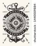 vintage nautical traveler... | Shutterstock . vector #1440009884