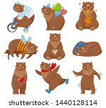 cartoon bears. happy bear ... | Shutterstock .eps vector #1440128114