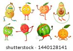 fruit characters yoga. fruits... | Shutterstock .eps vector #1440128141