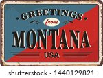 greetings from montana vintage... | Shutterstock .eps vector #1440129821