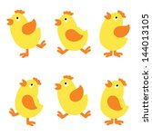 set isolated chicken   vector | Shutterstock .eps vector #144013105