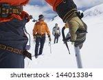Hikers Using Walking Sticks In...