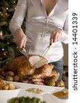 Carving Christmas Roast Turkey...