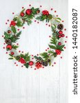 Abstract Christmas Wreath With...