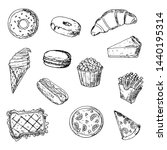 set of fast food. hand drawn... | Shutterstock .eps vector #1440195314