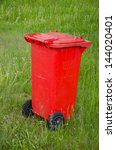 red trashcan on green summer ... | Shutterstock . vector #144020401