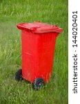 red trashcan on green summer ... | Shutterstock . vector #144020401