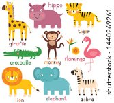 exotic  vector animals  giraffe ... | Shutterstock .eps vector #1440269261