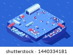 container yard isometric vector ... | Shutterstock .eps vector #1440334181