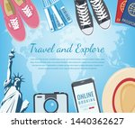 travel composition with travel... | Shutterstock .eps vector #1440362627