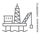 oil platform thin line icon ... | Shutterstock .eps vector #1440398711