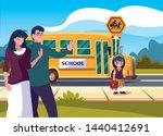 parents goodbye to daughter in...   Shutterstock .eps vector #1440412691