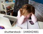 girl using mobile phone instead ...   Shutterstock . vector #144042481
