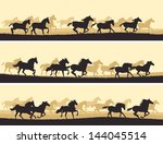 Stock vector horizontal vector banner silhouette herd of horses 144045514