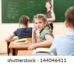 school children in classroom at ... | Shutterstock . vector #144046411