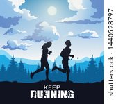 running silhouettes  sport and... | Shutterstock .eps vector #1440528797