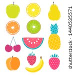 collection of hand drawn fruits ... | Shutterstock .eps vector #1440535571