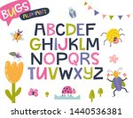 bugs funny alphabet in cartoon... | Shutterstock .eps vector #1440536381