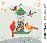 Cute Birds Poster. Red Norther...