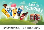 back to school  funny cute... | Shutterstock .eps vector #1440642047