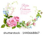 wedding invite with bouquet of...   Shutterstock .eps vector #1440668867
