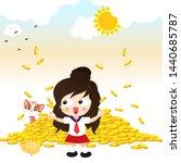 little cute girl happy to make... | Shutterstock .eps vector #1440685787