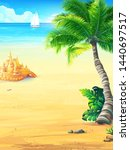 background summer vacation with ... | Shutterstock .eps vector #1440697517
