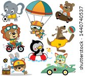 vector set of cute animals... | Shutterstock .eps vector #1440740537