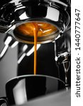 Espresso shot from espresso machine - stock photo