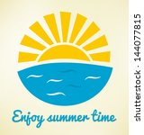 Summer Time Icon With Sun And...