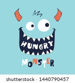 cute monster face drawn as... | Shutterstock .eps vector #1440790457