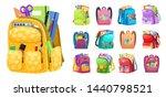 backpack full of stationery... | Shutterstock .eps vector #1440798521
