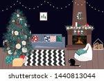christmas living room in... | Shutterstock .eps vector #1440813044