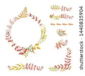 watercolor herbal mix frame.... | Shutterstock . vector #1440835904