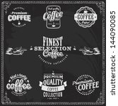 set of coffee shop sketches and ... | Shutterstock .eps vector #144090085