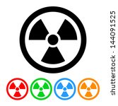 nuclear symbol icon vector with ... | Shutterstock .eps vector #144091525