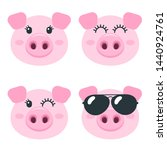 set of cute pig faces isolated... | Shutterstock . vector #1440924761
